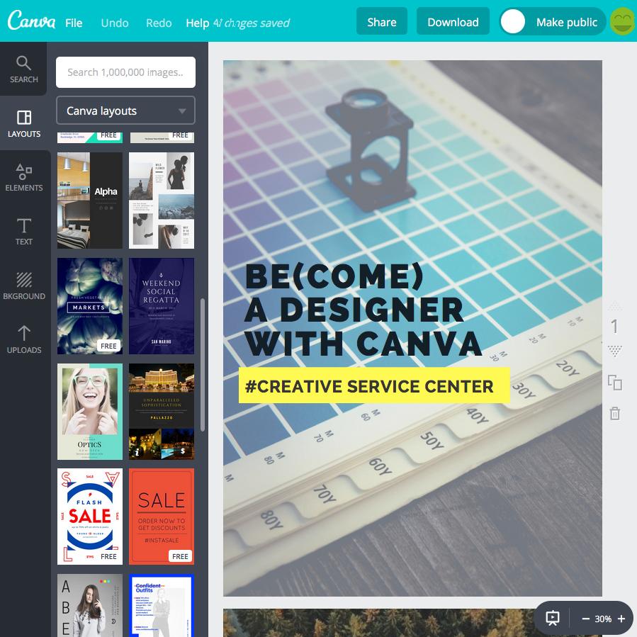 Arbeiten mit der Design-Freeware CANVA